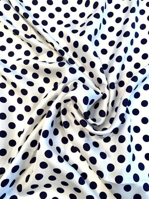 Classic Polka Dot Printed Fine Silk Twill - White / Navy