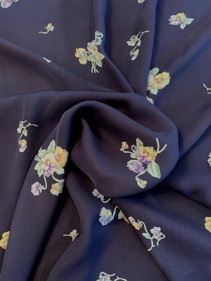 Willowing Floral Printed Silk Georgette - Navy / Sage / Yellow