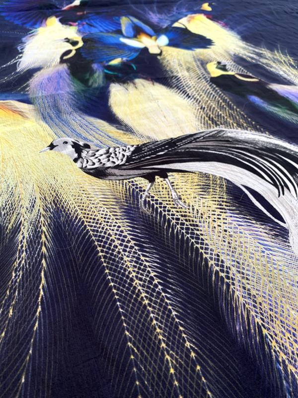 Birds in Rio Printed Paneled Cotton Voile - Navy / Yellow / Royal