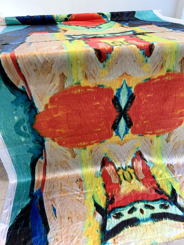 Abstract Ethnic Super Long Paneled Printed Polyester Charmeuse - Multicolor