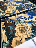 Flower Frame Printed Stretch Silk Charmeuse Panel - Butter / Blue / Teal / Black