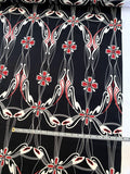 Floral Vines Printed Fine Silk Twill - Black / Off-White / Cranberry