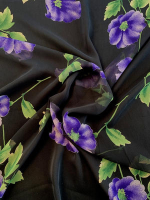 Classic Floral Printed Silk Chiffon - Black / Purple / Green