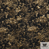 Metallic Floral Brocade fabric in Black/Gold