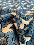 Italian Floral Clip Silk and Cotton Organza - Blue / Lt Grey / Black