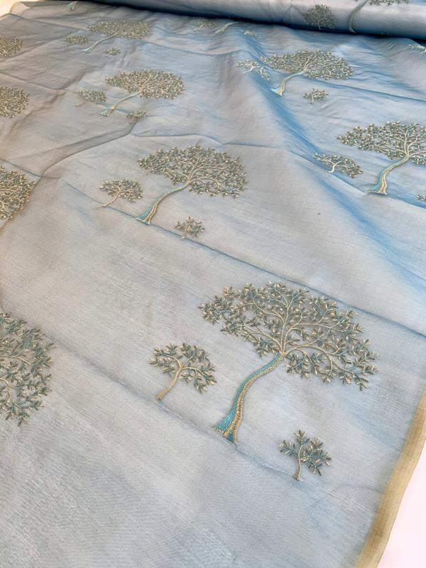 Joshua Tree Embroidered Iridescent Silk Organza - Dusty Turquoise / Beige