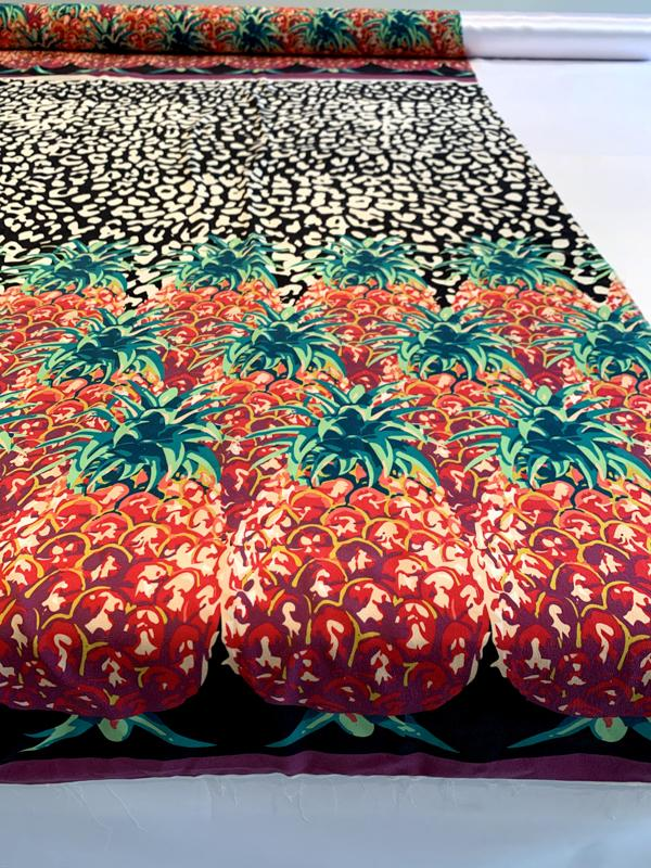 Pineapple and Spotted Stretch Silk Charmeuse Panel - Black / White / Orange / Green
