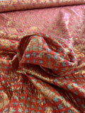 Italian Silk and Lurex Printed Lame with Texture - Strawberry Red / Turquoise / Gold