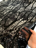 Abstract Printed Partly-Sheer Novelty Knit - Black / White