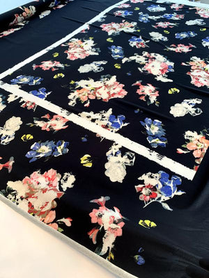 Italian Floral Printed Polyester Crepe Panel - Black / White / Multi