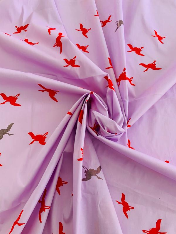 Birds in Flight Printed Stretch Cotton Poplin Panel - Lavender / Red / Dark Platinum
