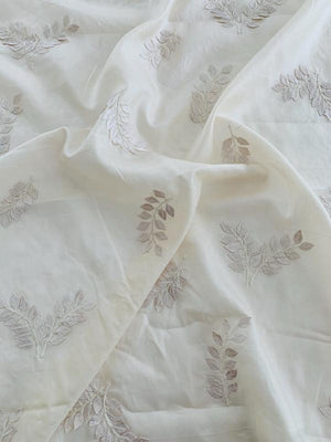 Roman Laurel Leaf Applique on Vintage Silk Habotai - Cream