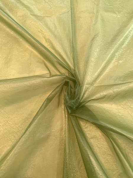 Italian Novelty Crispy Nylon Organza with Shimmer - Kiwi Green