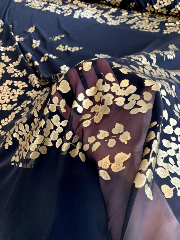 Gold Foil Leaf Print on Polyester Chiffon Panel - Black / Gold