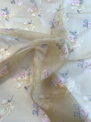 Vintage Floral Printed Silk Organza Panel - Antique Gold / Earth