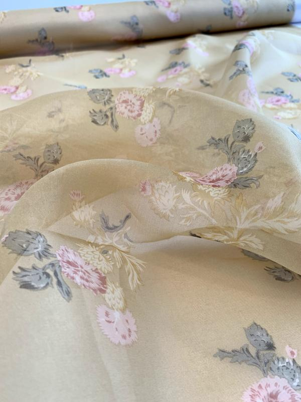 Vintage Distressed Finished Floral Printed Silk Organza Panel - Antique Gold / Earth