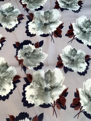 Bold Floral Printed Satin Face Organza - Shades of Grey / Dusty Bordeaux