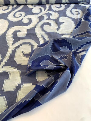 Cotton Novelty with Pixelated Clip Design and Lurex - Blue / White / Aurora Borealis