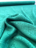 Floral Washed Cloque Silk Jacquard - Emerald Green
