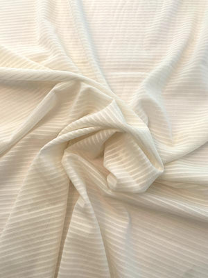 Seersucker Textured Striped Silk Chiffon - Ivory