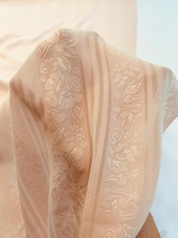 Floral Washed Cloque with Sheer Stripes Silk Jacquard - Blush