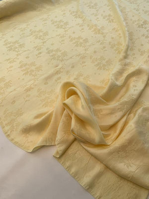 Floral Satin Rayon and Silk Jacquard - Butter Yellow