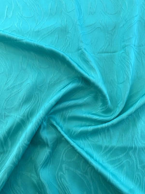 Abstract Lines Cloque Silk Jacquard - Jade Green