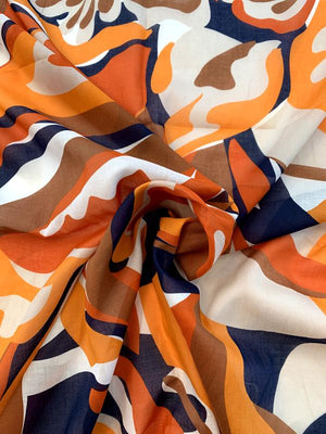 Abstract Printed Cotton Voile - Orange / Off-White / Navy