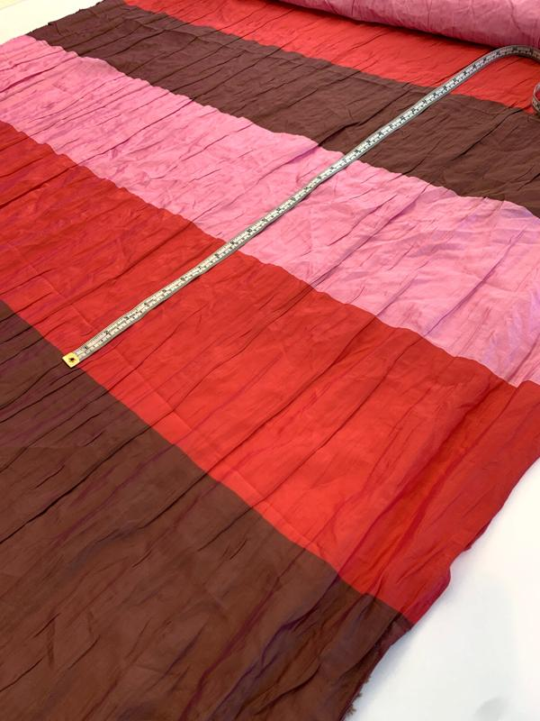 Italian Wide Striped Ruched Silk and Poly - Pink / Red / Brown