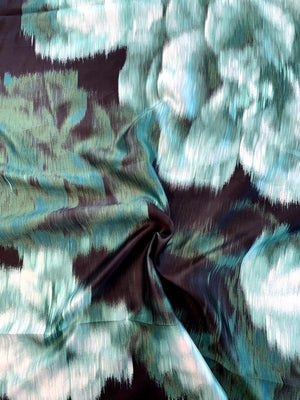 Italian Large Scale Hazy Floral Lightweight Silk Zibeline Panel - Greens / Black