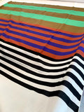 Horizontal Striped Printed Cotton Voile Panel - Multicolor