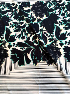 Italian Floral Frame Printed Stretch Twill Cotton Sateen Panel - Black / White / Green / Grey