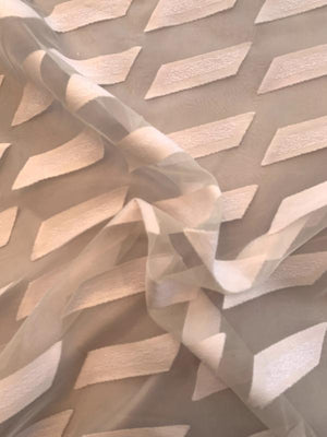Italian Geometric Cotton Pattern wiith Silk Organza Base - Light Blush