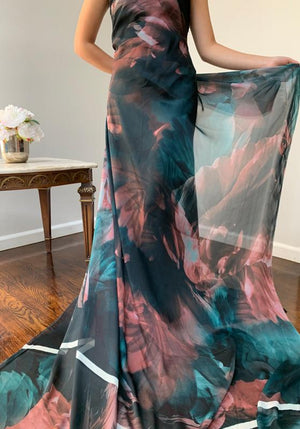 Italian Large Scale Floral Printed Satin Silk Chiffon Panel - Teal / Mauve