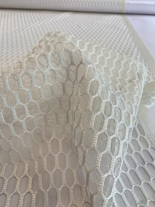 Novelty Embroidered Polyester Mesh - Off-White