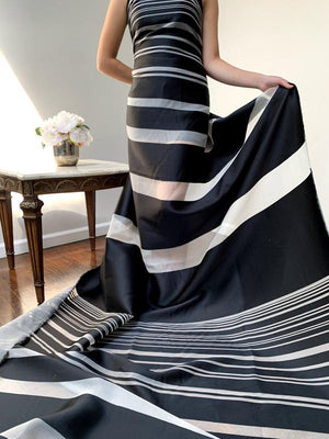 Italian Pamella Roland Paneled Silk Organza with Black Satin Stripes - Black / White