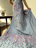 Italian Christian Siriano Paneled Floral Textured Jacquard Brocade - Lavendar / Lilac / Pastel PInk