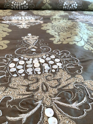 Damask with Threadwork and Embroidered Beads Novelty Brocade - Taupe / Ecru