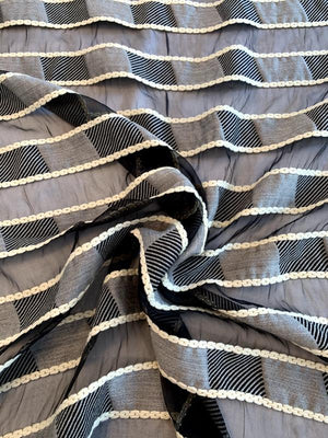 Italian Novelty Silk Organza with Woolen Striped Pattern - Black / Grey / Ivory