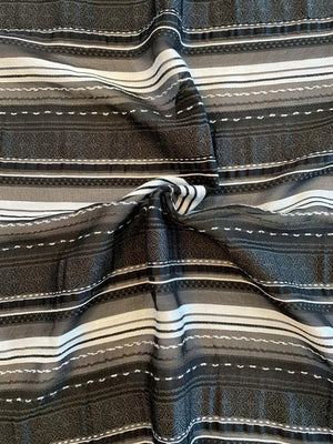 Italian Striped and Yarned Poly Rayon Organza with Ecclesiastical Design - Black / Lt Grey / Dark Grey