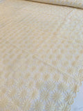 Floral Daisey Cotton Embroidered Polyester Organza - Ivory