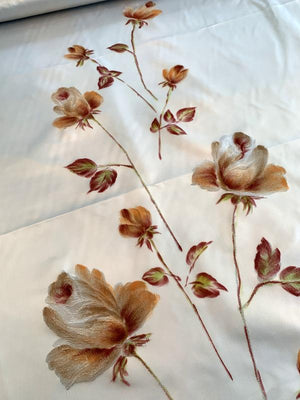 Made in France Vintage Embroidered and Hand Painted Floral Polyester Satin - Light Icey Blue / Maroon / Orange