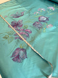 Made in France Vintage Hand Painted Floral Polyester Satin - Sea Green / Purple / Pink / Green