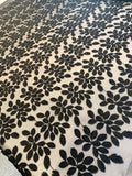 3D Embroidered Leaves on Polyester Tulle - Black