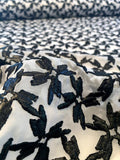 Italian Abstract Glossy Finish Embroidered Polyester Chiffon - Black / White
