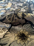 Regal Floral Embroidered Organza with Cutout and Single Scalloped Edge - Black / Gold
