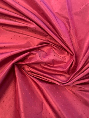 Yarn-Dyed Iridescent Silk Taffeta with Pin Dot Pattern - Berry Red