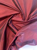 Yarn-Dyed Iridescent Silk Taffeta with Pin Dot Pattern - Wine Red / Black