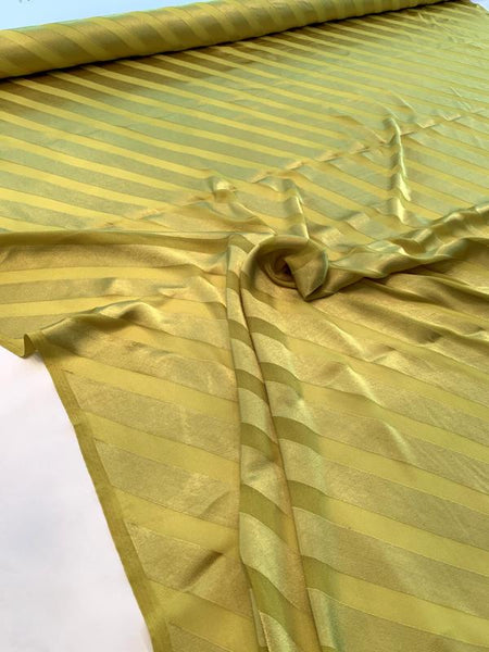 Italian Diagonal Striped Charmeuse on Viscose and Polyester Chiffon - Chartreuse