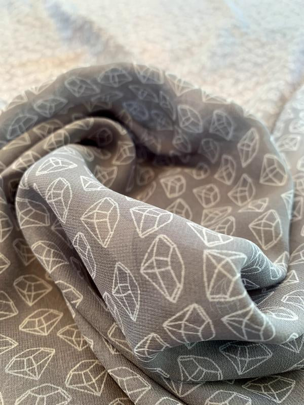 Italian Diamonds Printed Silk Chiffon - Teal-Grey / White